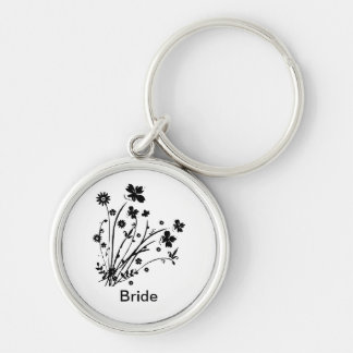 Black and White Floral Burst Silver-Colored Round Keychain