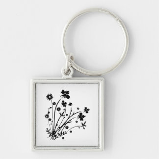 Black and White Floral Burst Silver-Colored Square Keychain