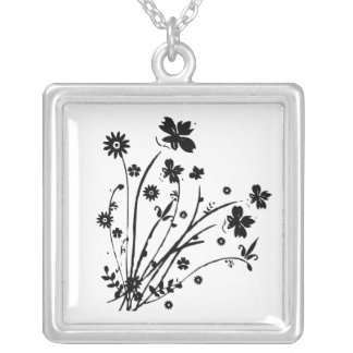 Black and White Floral Burst Square Pendant Necklace