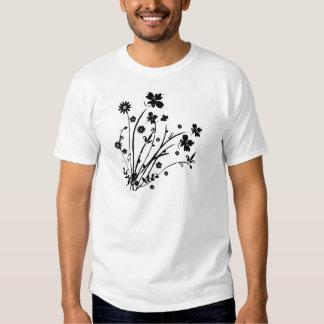 Black and White Floral Burst T Shirt
