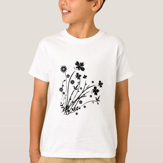 Black and White Floral Burst T-Shirt