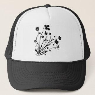 Black and White Floral Burst Trucker Hat