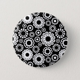 Black and white floral Button