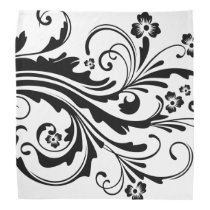 Black and White Floral Chic Bandana