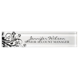 Black and White Floral Chic Desk Name Plate