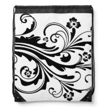 Black and White Floral Chic Drawstring Bag