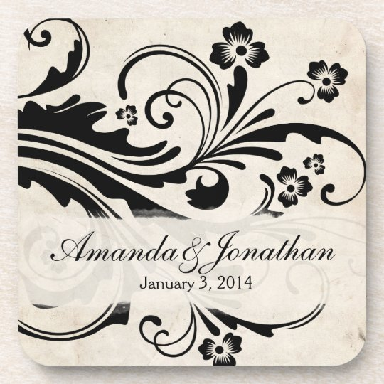 Black and White Floral Chic Wedding Beverage Coaster