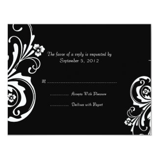 Black and White Floral Chic Wedding RSVP Card