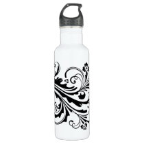 Black and White Floral Chic Wedding Water Bottle