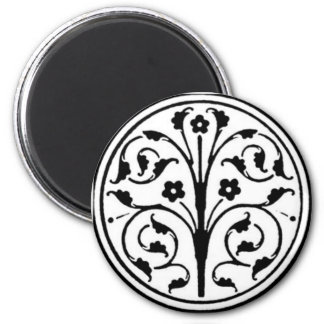 Black and White Floral Circle Refrigerator Magnet