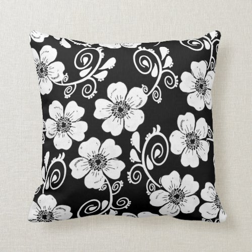 black and white floral cushion,elegant cushion throw pillow