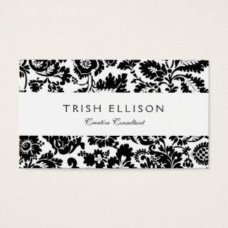 Black And White Damask Wallpaper Business Cards & Templates | Zazzle