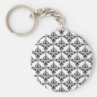 Black and White Floral Damask Pattern Keychain