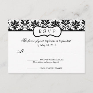Black and White Floral Damask Response Card