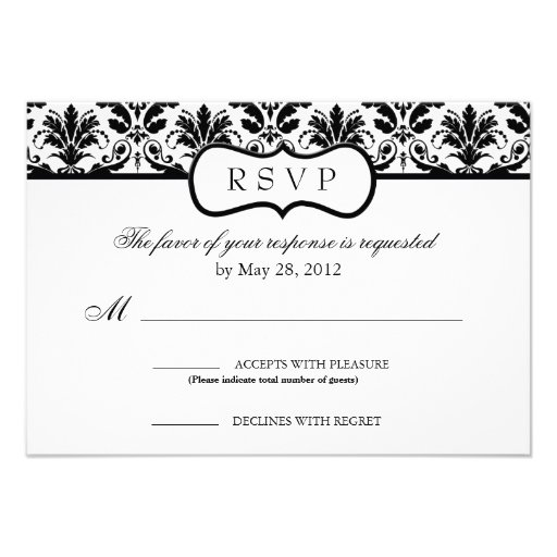 Black and White Floral Damask Response Card Custom Invitation