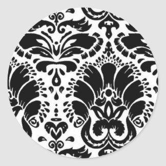 Black and White Floral Damask Sticker