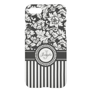 Black And White Floral Damask & Stripes-Monogram iPhone 8/7 Case