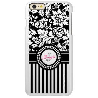Black And White Floral Damask & Stripes-Monogram Incipio Feather® Shine iPhone 6 Plus Case