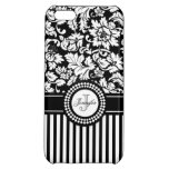 Black And White Floral Damask & Stripes-Monogram iPhone 5C Cases
