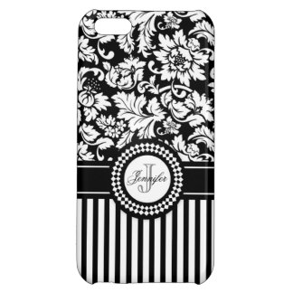 Black And White Floral Damask Stripes-Monogram iPhone 5C Cases
