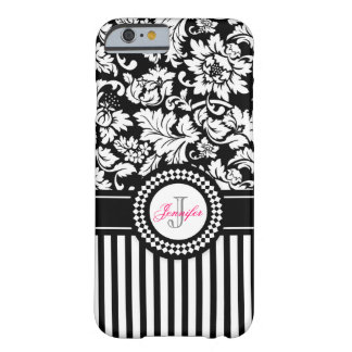 Black And White Floral Damask Stripes-Monogram iPhone 6 Case