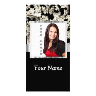 Black and white floral damask template