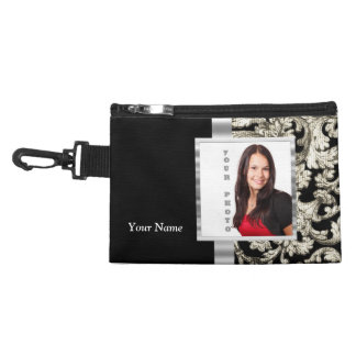 Black and white floral damask template accessories bag