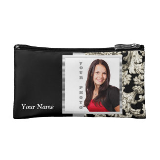 Black and white floral damask template cosmetic bag