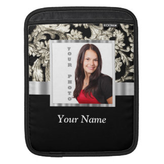 Black and white floral damask template iPad sleeve