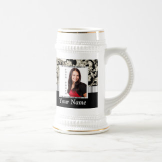 Black and white floral damask template 18 oz beer stein