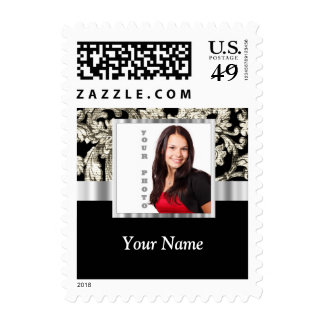 Black and white floral damask template postage stamps