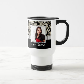 Black and white floral damask template travel mug