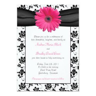Black and White Floral Damask Wedding Invitation