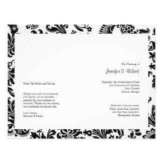 Black and White Floral Damask Wedding Program Flyer Design