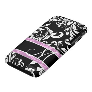 Black and white floral damask with monogram iPhone 3 Case-Mate case