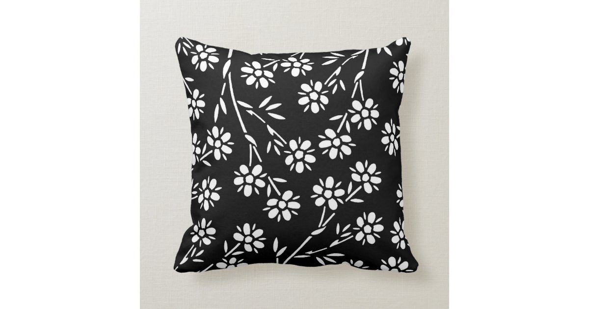 Black Flower Throw Pillow : Black and White Floral Decorative Pillow Zazzle
