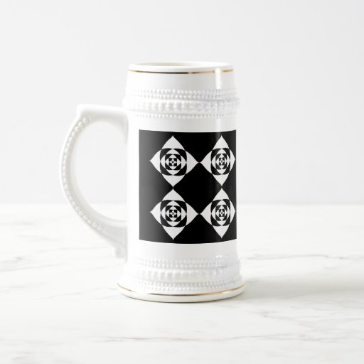 Black and White Floral Design. 18 Oz Beer Stein