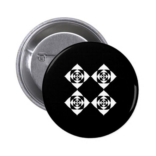 Black and White Floral Design. 2 Inch Round Button
