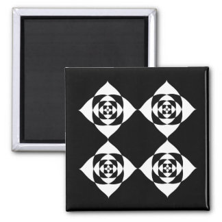 Black and White Floral Design. 2 Inch Square Magnet