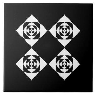 Black and White Floral Design. Ceramic Tile