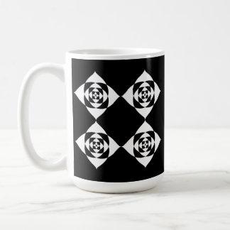 Black and White Floral Design. Coffee Mug