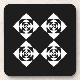 Black and White Floral Design. Drink Coaster