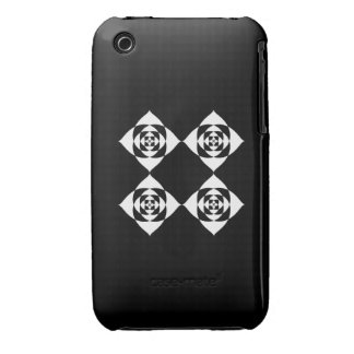 Black and White Floral Design. iPhone 3 Cover