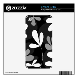 Black and white floral design iPhone 4S decals