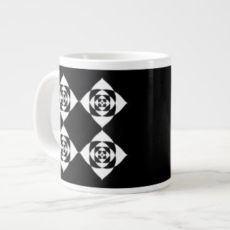 Black and White Floral Design. Large Coffee Mug