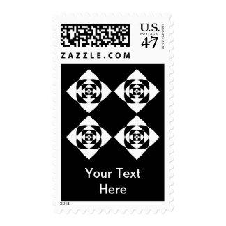 Black and White Floral Design. Postage Stamp