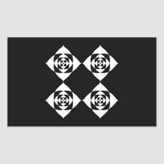 Black and White Floral Design. Rectangular Sticker