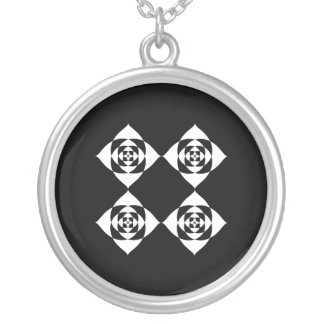 Black and White Floral Design. Round Pendant Necklace