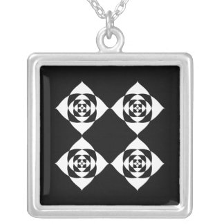 Black and White Floral Design. Square Pendant Necklace