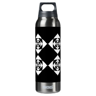 Black and White Floral Design. Thermos Bottle